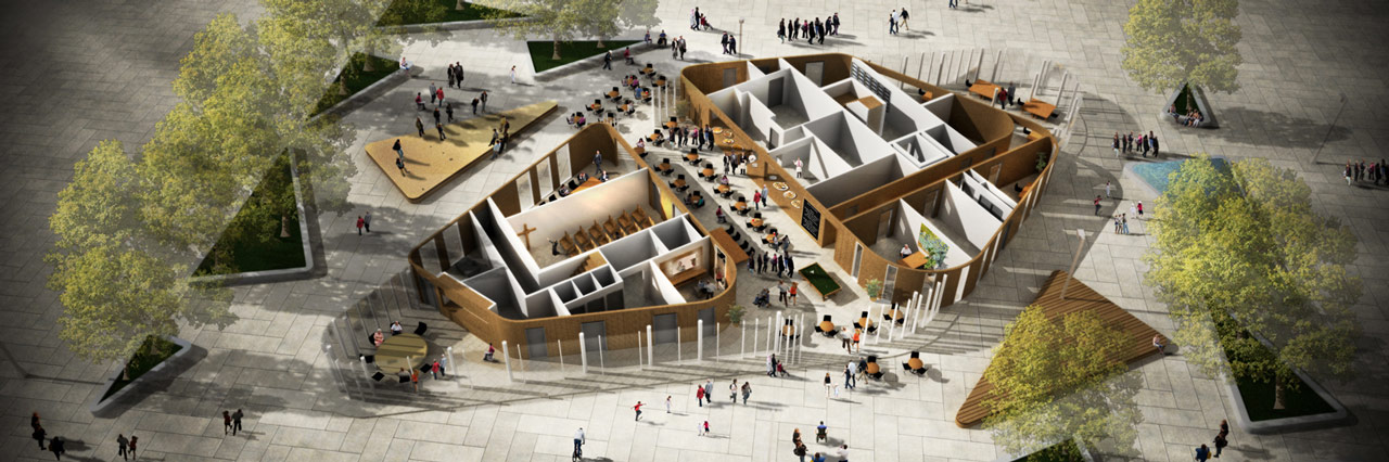 Eltheto Housing and Healthcare Centre-Public square overview